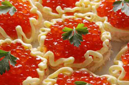 red caviar.